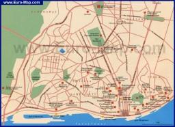 Карта центра Лиссабона с достопримечательностями на русском языке