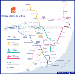 Карта транспорта города Лиссабон