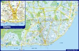 Подробная туристическая карта Лиссабона с достопримечательностями и отелями