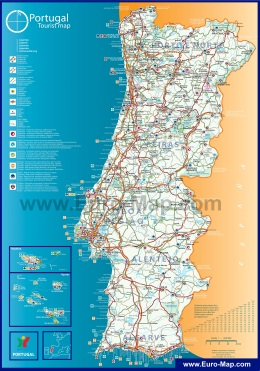 Подробная туристическая карта Португалии с курортами