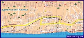 Карта Адлера с окрестностями