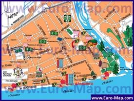 Туристическая карта центра Адлера с ресторанами