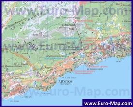 Карта Алупки с окрестностями