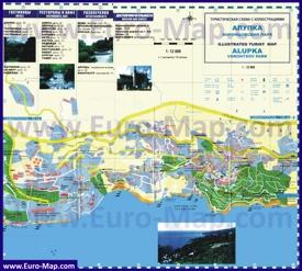 Подробная туристическая карта города Алупка с гостиницами и достопримечательностями