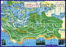 Туристическая карта центра Алупки с пляжами