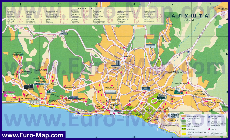 Карта Феодосии. Подробная, с улицами и номерами домов.