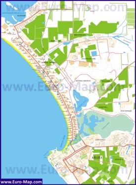Карта Анапы с базами отдыха