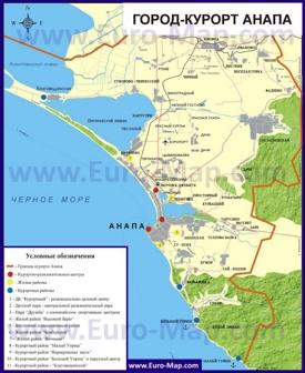 Карта Анапы с пригородами