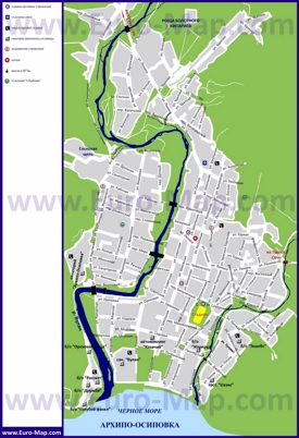Карта Архипо-Осиповки с санаториями, пансионатами и гостиницами