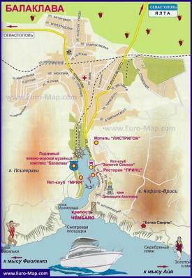 Карта Балаклавы с достопримечательностями