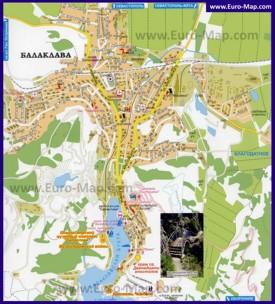 Подробная карта Балаклавы с улицами, домами и отелями