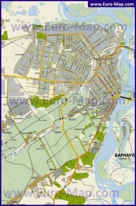 Карта Барнаула с окрестностями