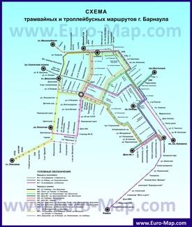 Карта маршрутов транспорта Барнаула
