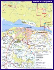 Автомобильная карта дорог Чебоксар