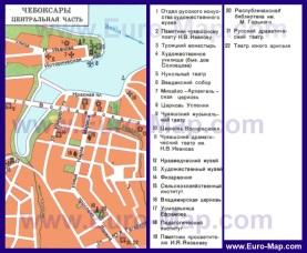 Карта центра Чебоксар с достопримечательностями