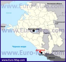 Дагомыс на карте Краснодарского края