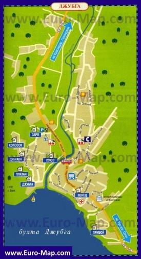 Туристическая карта Джубги с гостиницами