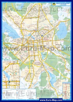 Подробная карта с маршрутами транспорта Екатеринбурга
