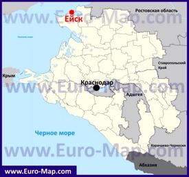 Ейск на карте Краснодарского Края