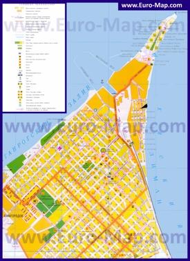 Туристическая карта Ейска с пляжами и пансионатами