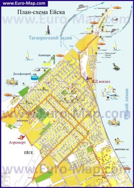 Туристическая карта Ейска с санаториями и базами отдыха