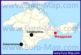 Феодосия на карте Крыма