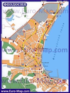 Туристическая карта Феодосии с пансионатами и санаториями