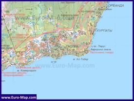 Карта Гаспры с окрестностями