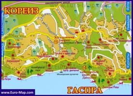 Карта Гаспры с санаториями и отелями