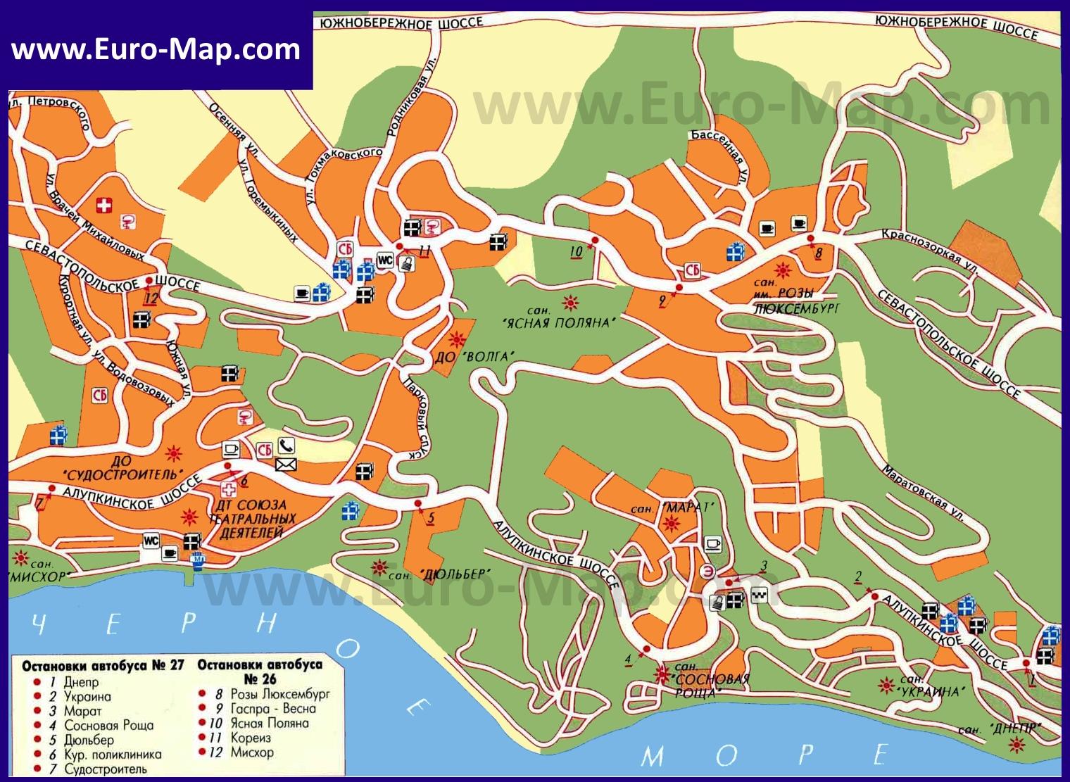 Карты Абхазии Подробная карта Абхазии с городами поселками