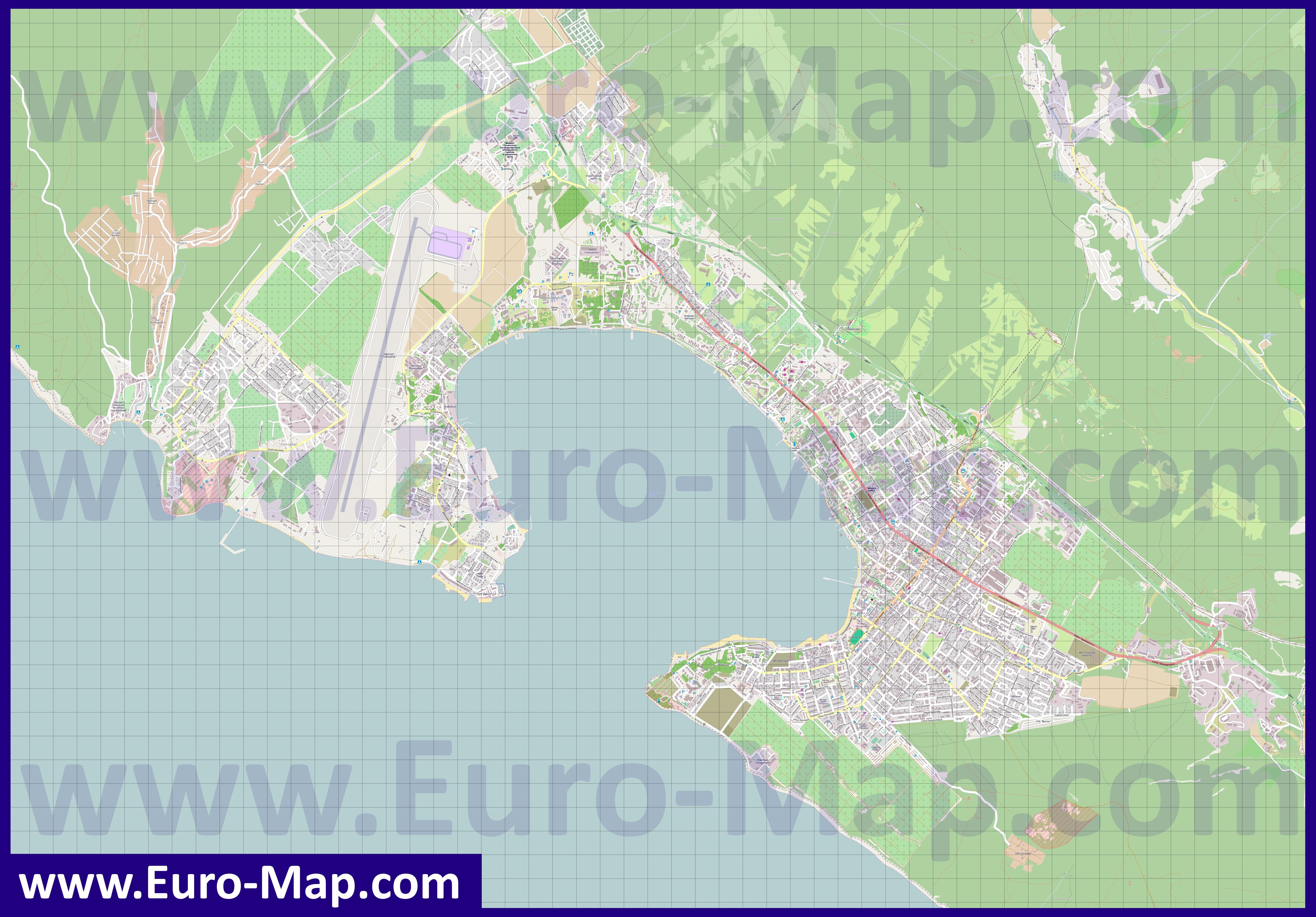 Карта Геленджика подробная  улицы номера домов районы