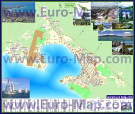 Подробная туристическая карта Геленджика с пляжами и достопримечательностями