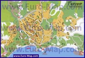 Карта Гурзуфа с отелями санаториями и пансионатами