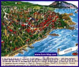 Туристическая карта Гурзуфа с достопримечательностями