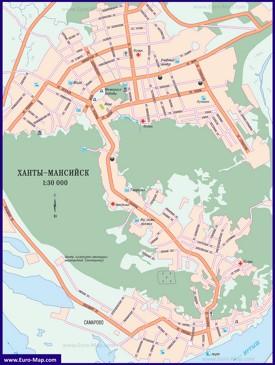 Автомобильная карта дорог Ханты-Мансийска