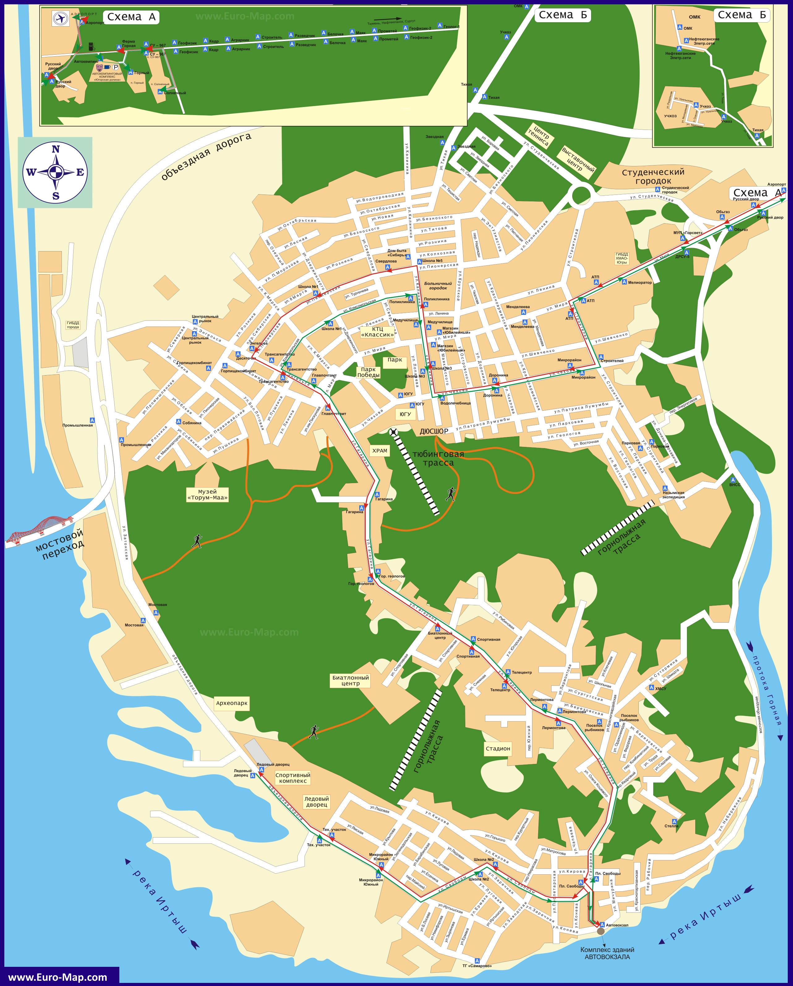 Подробная Карта Ханты Мансийска