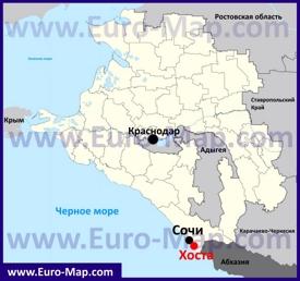Хоста на карте Краснодарского края