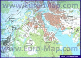 Карта Иркутска с окрестностями