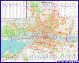 Подробная карта города Калининград