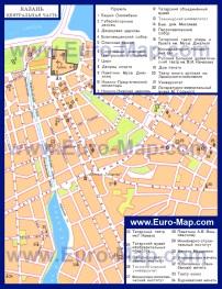 Карта центра Казани с достопримечательностями