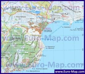 Карта Коктебеля с окрестностями
