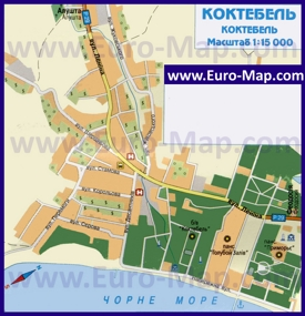 Карта Коктебеля с отелями