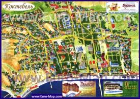Подробная туристическая карта Коктебеля с гостиницами, пансионатами и достопримечательностями
