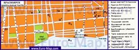 Туристическая карта центра Красноярска с достопримечательностями