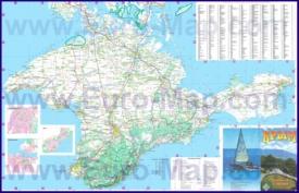 Карта дорог Крыма с городами