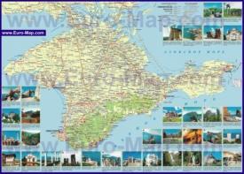 Подробная карта Крыма с достопримечательностями