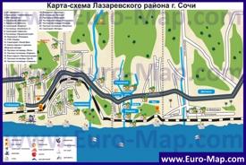 Карта Лазаревского района города Сочи