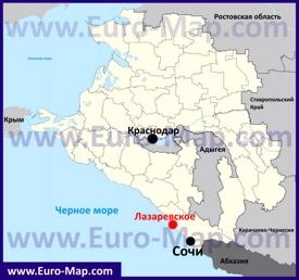 Лазаревское на карте Краснодарского края