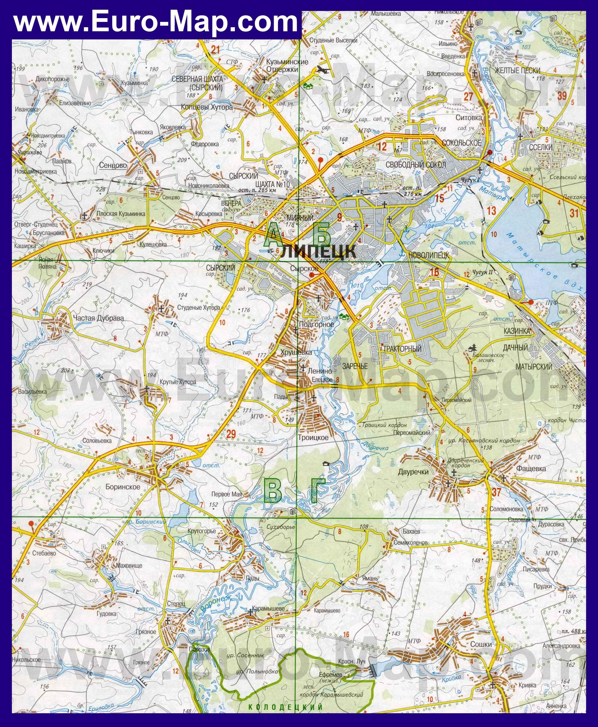 Карта Липецка. Карта Липецкой области. Карты районов ...