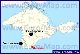 Ливадия на карте Крыма